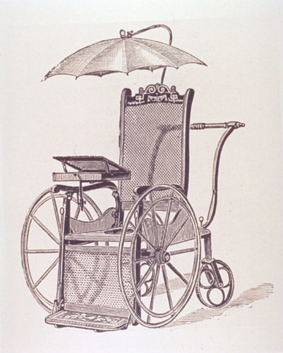 Modestly decorated wheelchair from an 1886 catalogue