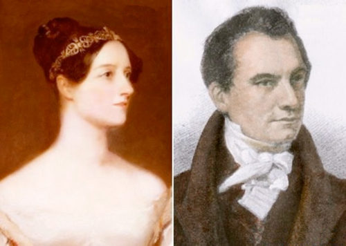 Ada Lovelace, the first computer programmer, and Charles Babbage, inventor of The Difference Engine, early 19th century