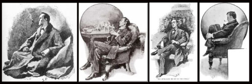 Four Paget depictions of Holmes in a meditative state