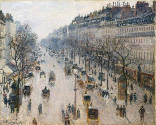 """The Boulevard of Montmartre on a Winter Morning,"" Camille Pissarro, 1897"