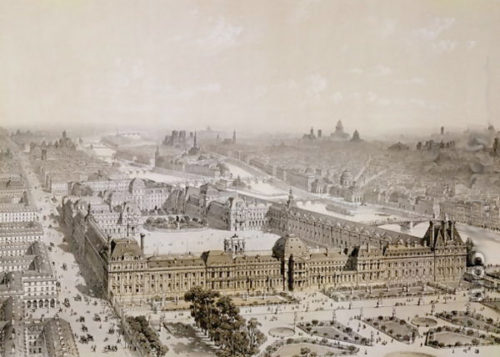 The Louvre by Henri Michel Antoine Chapu, showing the extension along Rue du Rivoli