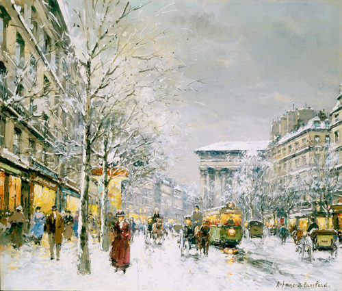 The Boulevard de la Madeleine in the Snow by Antoine Blanchard