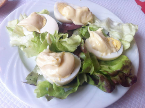 Oeufs Mayonnaise, French style, hard-boiled eggs with handmade mayonnaise