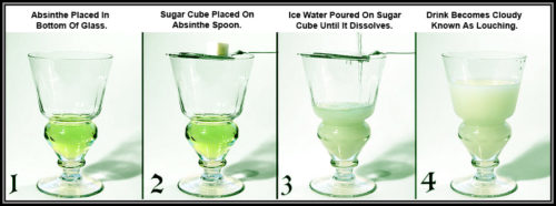 The typical presentation of absinthe, with cube of sugar and ice water