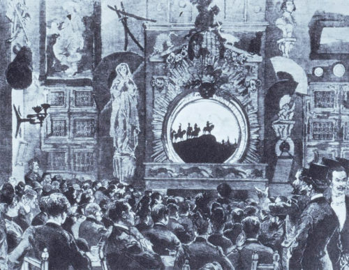 1888 illustration of the backstage action at the Théâtre d'Ombres in the Chat Noir
