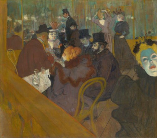 """At the Moulin Rouge"" c. 1892. Lautrec is facing left, the shorter man in the background. One of the men in the foreground is his friend, photographer Paul Sescau"