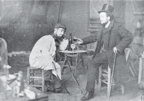 Toulouse-lautrec and friend Lucién Metivet drinking absinthe, c.1885