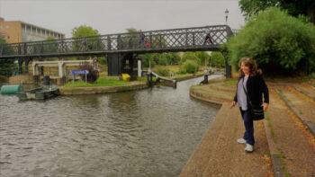 Bonnie MacBird at Jesus Lock Footbridge